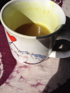 Bone broth in my mug. My favorite breakfast!